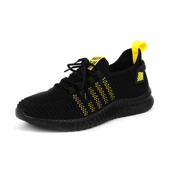 حذاء رجالي اسود*اصفر قماش خفيف نعل طري