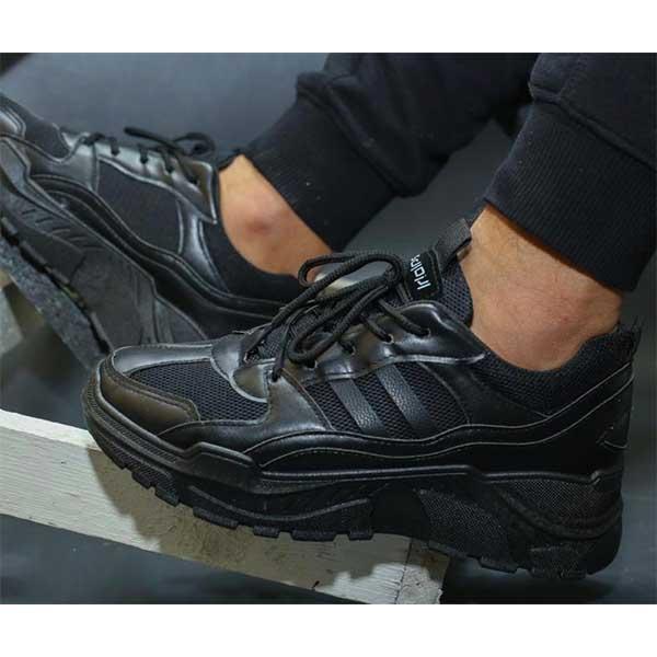 حذاء رجالي جلد و قماش صناعي اسود