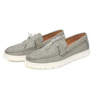 حذاء رجالي جلد صناعي نعل كوتشي رصاصي