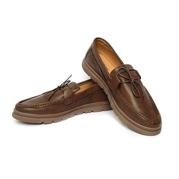 حذاء رجالي جلد صناعي نعل كوتشي بني