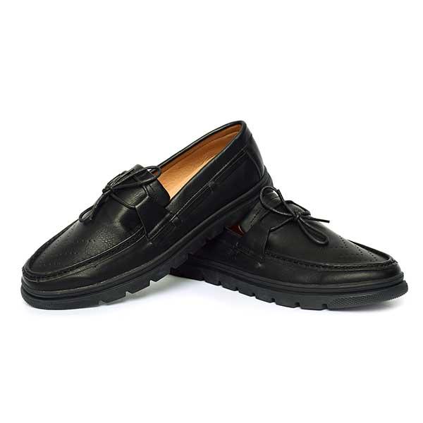 حذاء رجالي جلد صناعي نعل كوتشي اسود