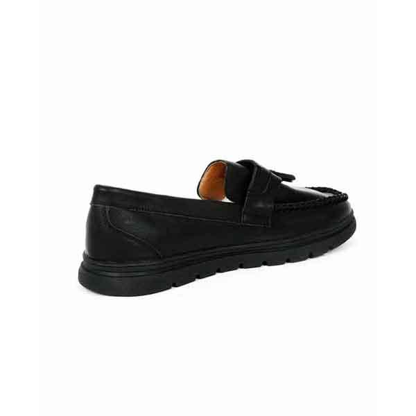 حذاء جلد صناعي - نعل كوتشي - اسود