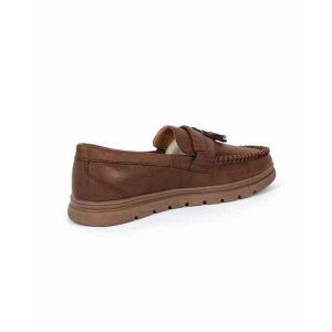 حذاء جلد صناعي - نعل كوتشي - بني