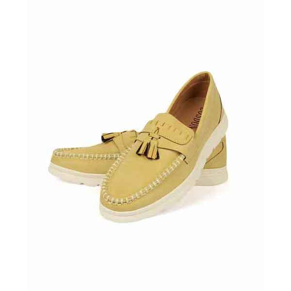 حذاء جلد صناعي - نعل كوتشي - بيج