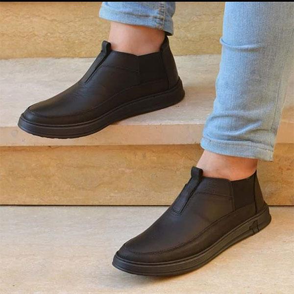 حذاء رجالي جلد طبيعي - اسود